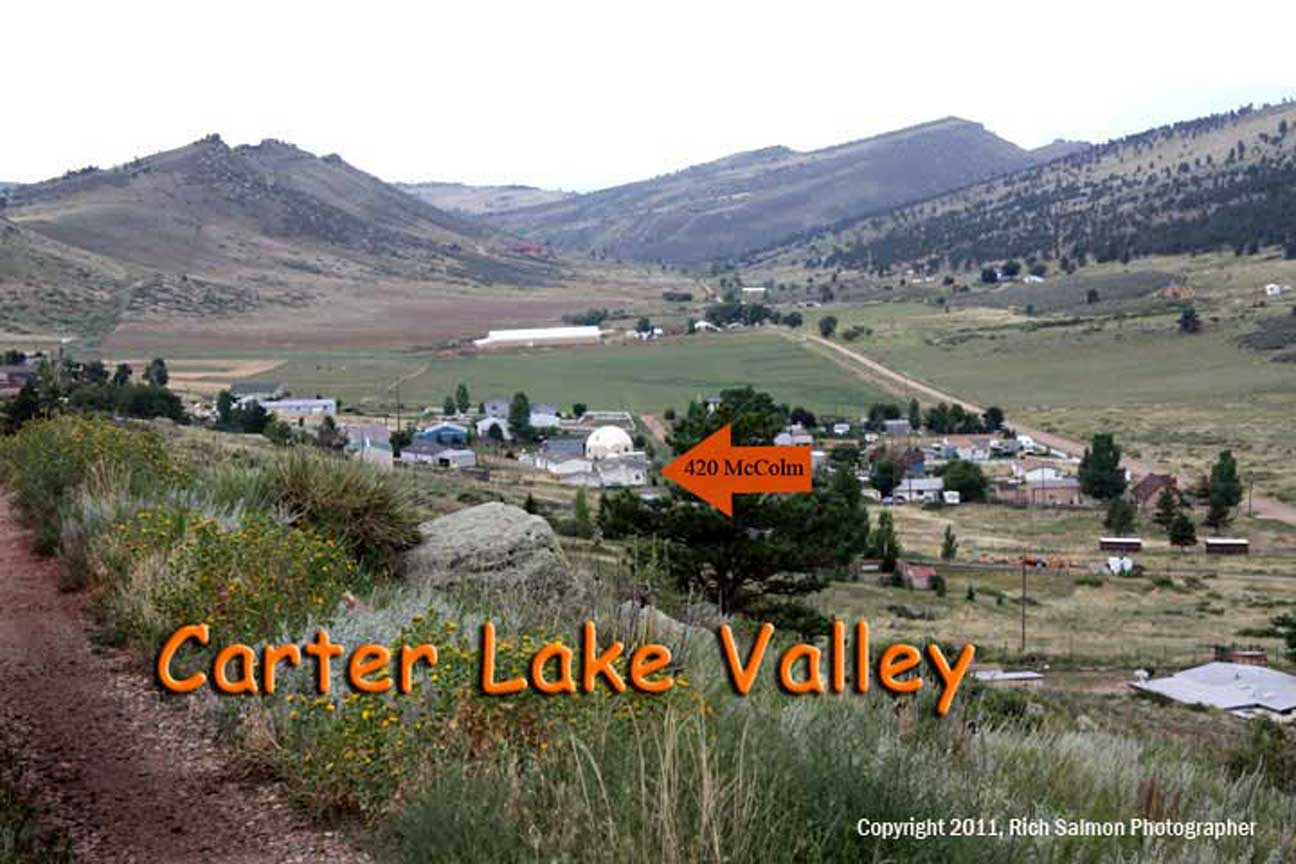 Carter Lake Valley and ranches to the south